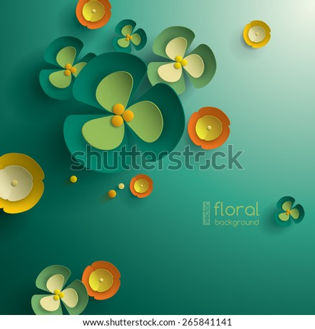 Vector paper graphic of floral pattern  - stock vector