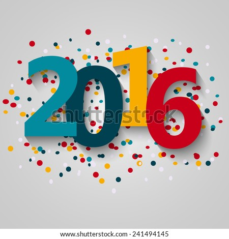 Vector paper illustration. Happy 2016 new year  - stock vector
