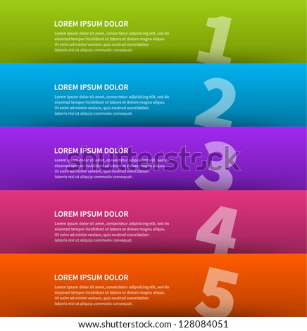 Vector paper lines and numbers design template for web site. Vector illustration. - stock vector