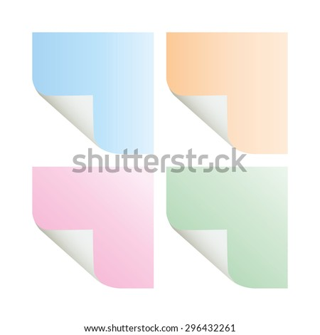 vector paper notes pastel color - stock vector