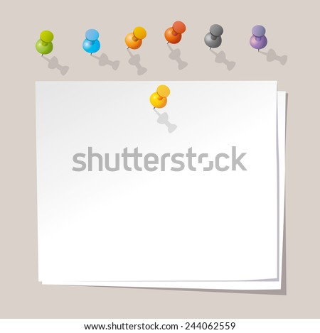 Vector paper notes with push color pins.  - stock vector