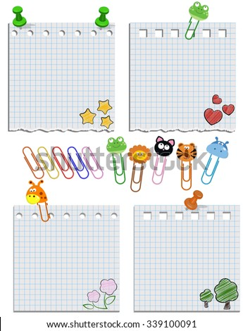 Vector paper notes with push pins and clips. Clip with cute animals. - stock vector