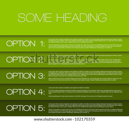 Vector Paper options background / product choice or versions - stock vector