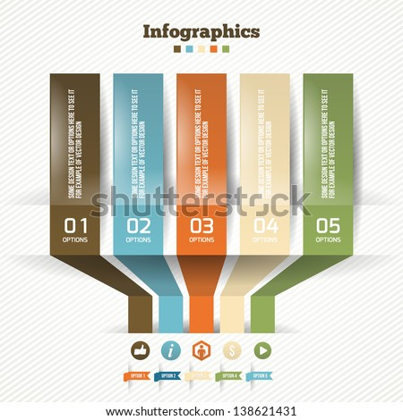Vector Paper Origami Effect. Business Modern Options Banners. Vector illustration for web design or infographics. - stock vector