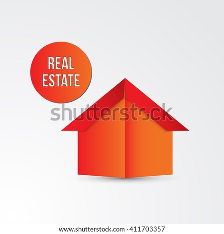 Vector Paper Origami House Icon