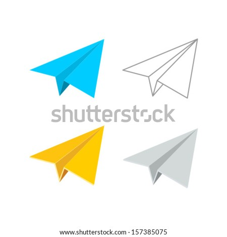 Vector Paper Plane Icon Symbol Set - stock vector