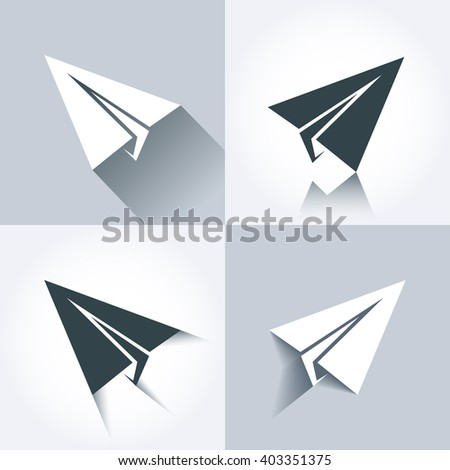 Vector paper plane icons. Paper aircraft elements