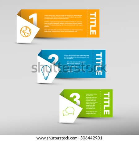 Vector Paper Progress background / product choice or versions - orange, blue and green vertical version - stock vector