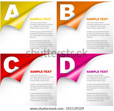 Vector Paper Progress background / product choice or versions with letters - stock vector