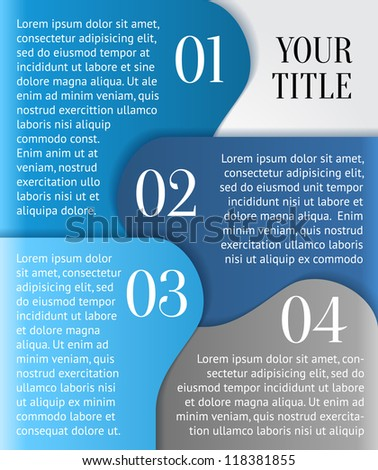 Vector paper progress background / product choice or versions with numbers and description - stock vector