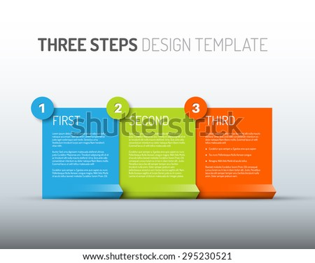 Vector Paper Progress design template with three steps - stock vector