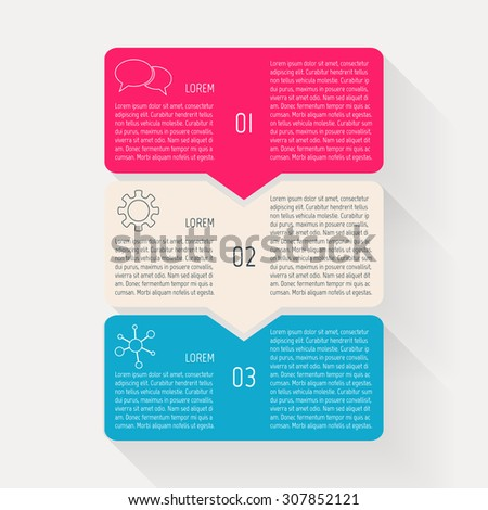 Vector paper progress steps for tutorial. Option infographic banners. Number banners template for diagram, graph, presentation, chart. Business concept sequence banner. EPS10 workflow layout. 3 steps. - stock vector