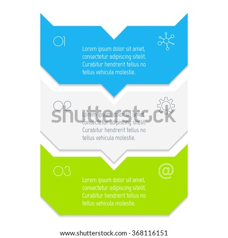 Vector paper progress steps for tutorial. 3 options infographic banner. Number banner template for diagram, presentation or chart. Business concept sequence banner. EPS10 vertical workflow layout. - stock vector
