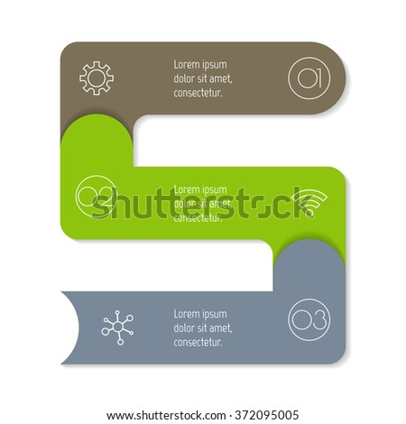 Vector paper progress steps for tutorial. 3 options infographic banner. Number banner template for diagram, presentation or chart. Business concept sequence banner. Vertical arrow workflow layout. - stock vector