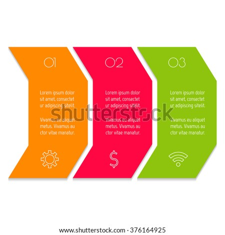 Vector paper progress steps for tutorial. 3 options infographic banner. Number banner template for diagram, presentation or chart. Business concept sequence banner. EPS10 horizontal workflow layout. - stock vector