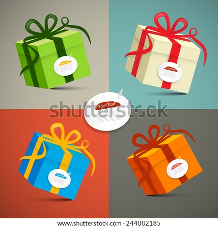 Vector Paper Retro 3d Gift Boxes Set Illustration - stock vector