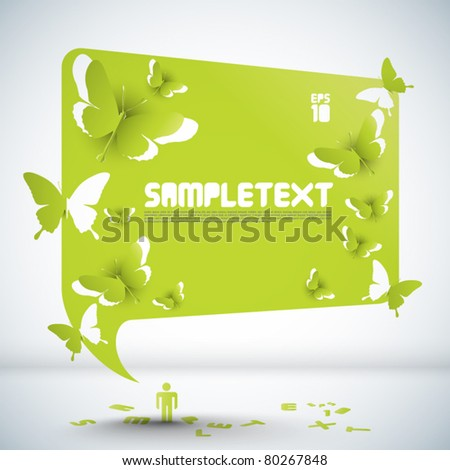 Vector Paper Sculpted Speech Bubble with Butterflies Cut-out Patterns - stock vector