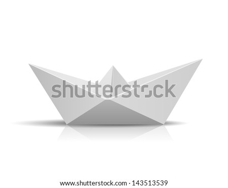 Vector Paper Ship isolated on white background