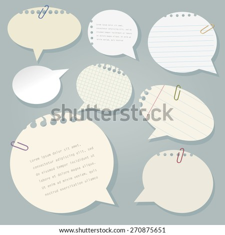 Vector paper speech bubbles set with paperclips. - stock vector