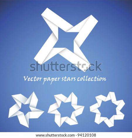 Vector paper stars collection