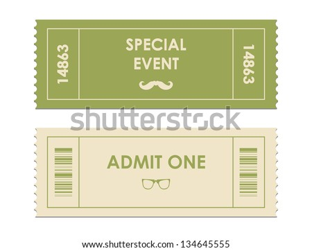 vector paper ticket with hipster elements - stock vector