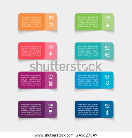 Vector paper triangle stickers and labels with realistic shadows for infographic set. Template for diagram, graph, presentation and chart.  - stock vector