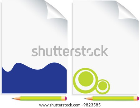 vector paper with pencil - stock vector