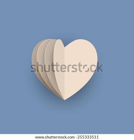 Vector papercraft heart - stock vector