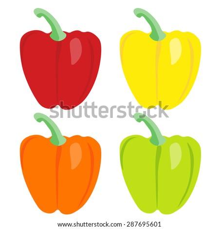 Vector  paprika set. Sweet pepper. Cooking vector elements.  - stock vector