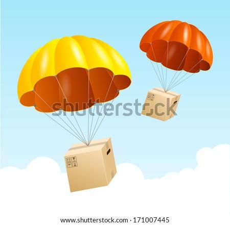 Vector parachute background. Air shipping concept - stock vector