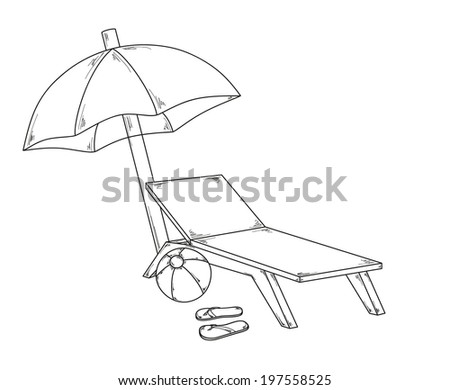 vector, parasol flops, ball and chair, sketch - stock vector