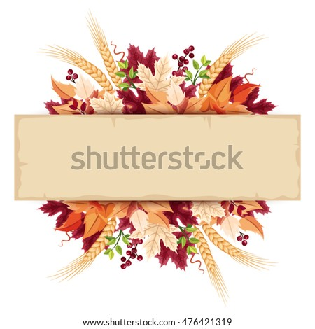 Vector parchment card with colorful autumn leaves.