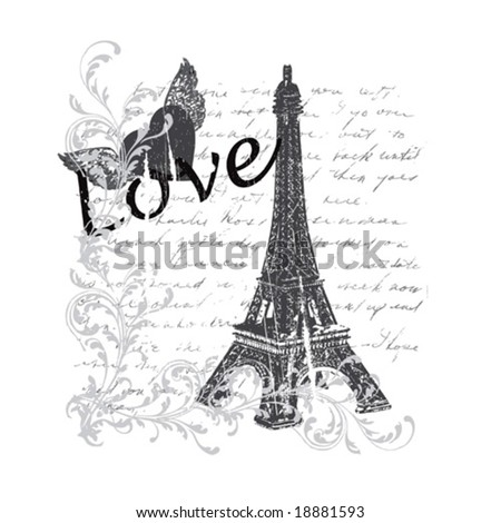vector paris on a vintage background - stock vector