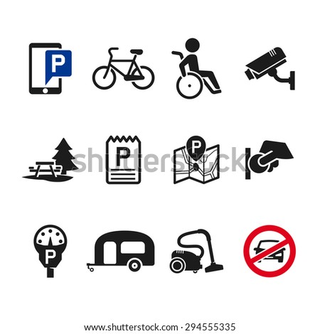 Vector parking icon set 02 - stock vector