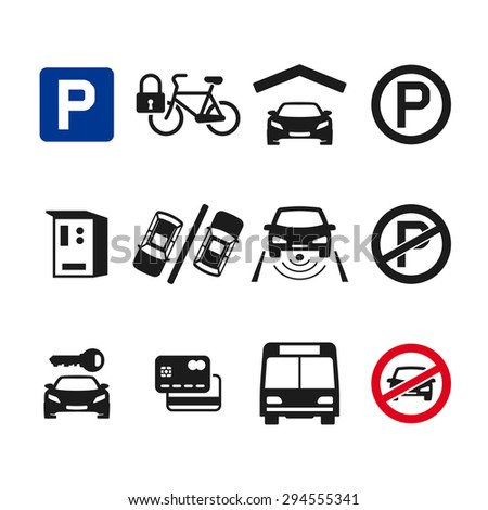 Vector parking icon set 03 - stock vector
