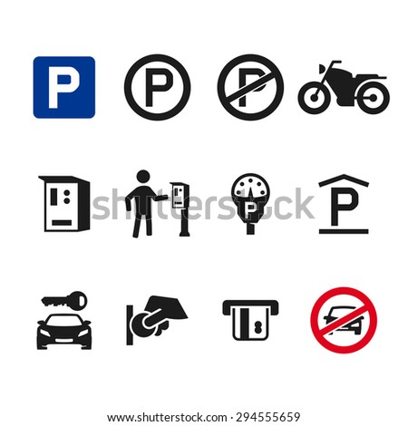 Vector parking icon set 01 - stock vector