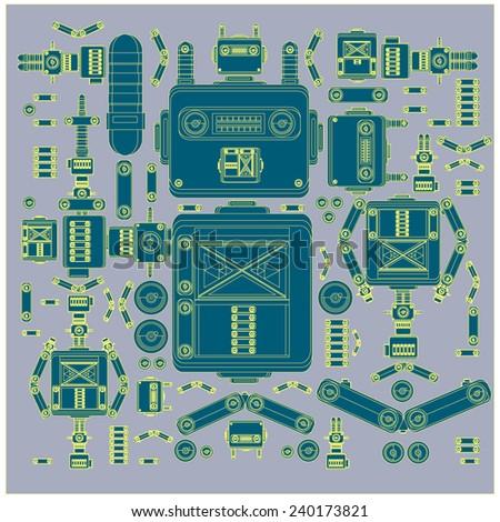 vector part of vintage robot - stock vector