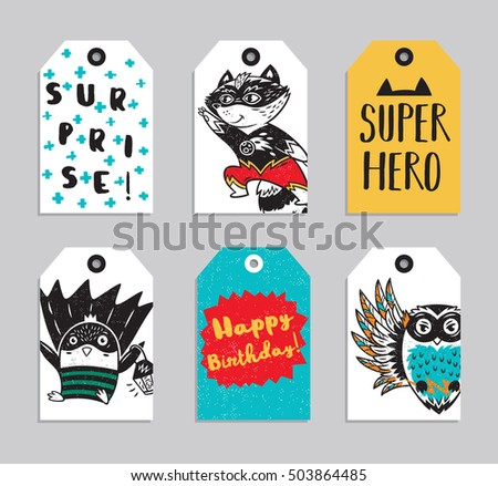 Vector party badge design. Collection of six Super Hero cute ready to use gift tags. Set of 6 printable hand drawn party label with owl, penguin and raccoon