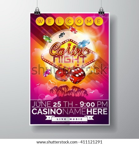 Vector Party Flyer design on a Casino theme with chips and dices on ocean landscape background. Eps 10 illustration. - stock vector