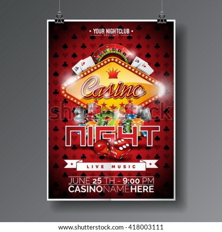 Vector Party Flyer design on a Casino theme with chips and game cards on dark symbols background. Eps 10 illustration. - stock vector