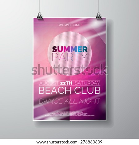 Vector Party Flyer poster template on Summer Beach theme with abstract shiny background. Eps 10 illustration. - stock vector