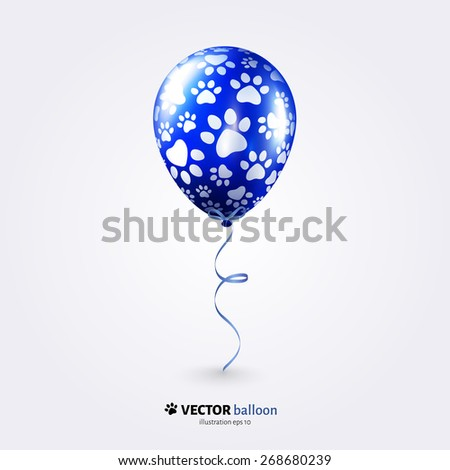 Vector party flying balloon with cat paws pattern isolated on white background. - stock vector