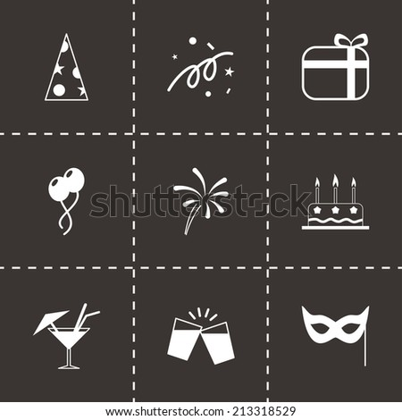 Vector party icons set on black background - stock vector
