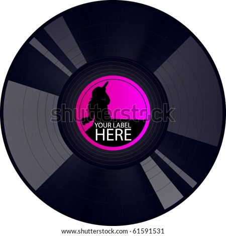 vector party record - stock vector