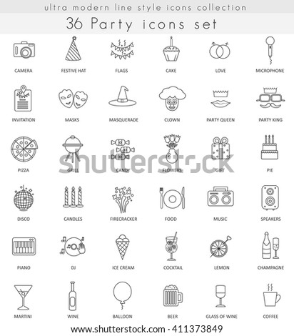 Vector Party ultra modern outline line icons for web and apps.  - stock vector