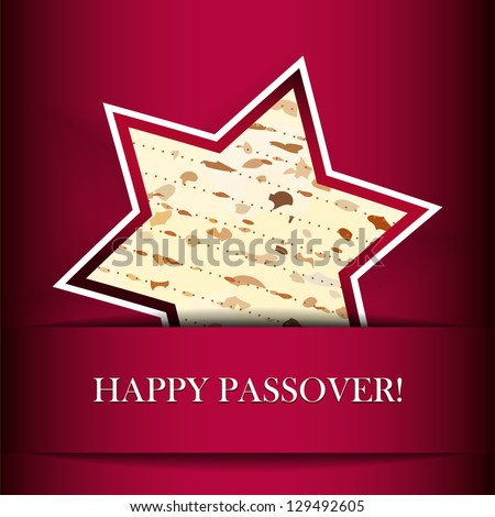Vector Passover card with matza (Star of David shape) - stock vector