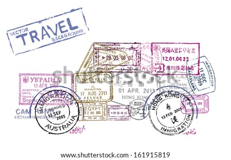 vector passport stamps in the form of a car - travel theme background - stock vector
