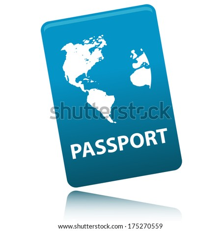Vector Passport with map isolated on white background