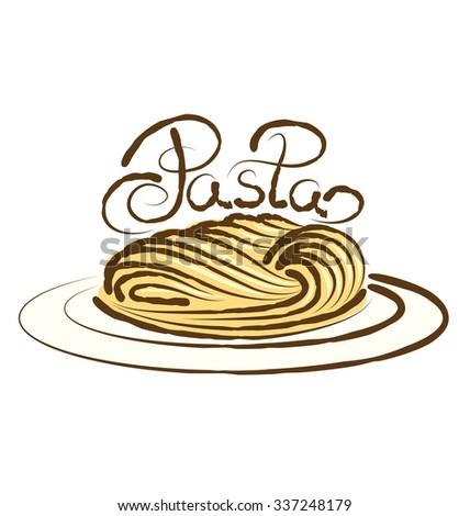 vector pasta with calligraphic inscription - stock vector