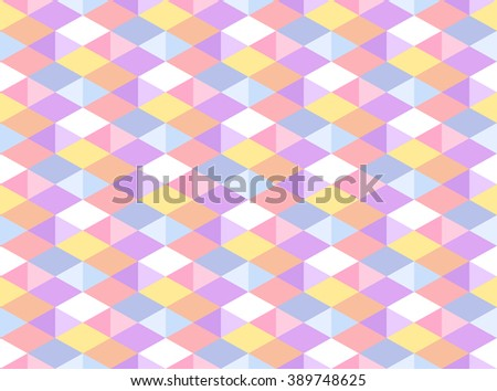 Vector Pastel Colored Geometric Seamless Pattern - stock vector